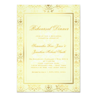 Ivory & Gold Damask Rehearsal Dinner 11 Cm X 16 Cm Invitation Card