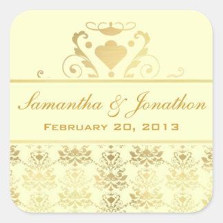 Ivory & Gold Damask Wedding Labels