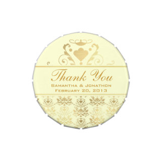 Ivory & Gold Damask Wedding Thank You Jelly Belly Candy Tin