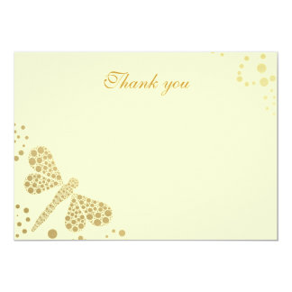 Ivory & Gold Dragonfly Pointillism Flat Thank You Card