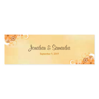 Ivory Gold Floral Hibiscus Small Wedding Favor Tag Pack Of Skinny Business Cards