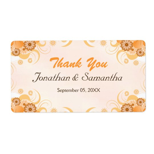 Ivory Gold Peach Floral Large Wedding Thank You Shipping Label