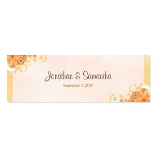 Ivory Gold Peach Floral Small Wedding Favor Tags Pack Of Skinny Business Cards