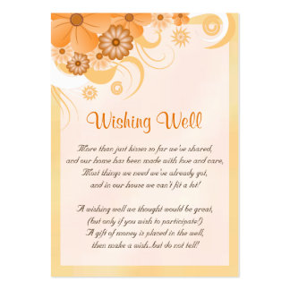 Ivory Gold Peach Floral Wedding Wishing Well Cards Pack Of Chubby Business Cards