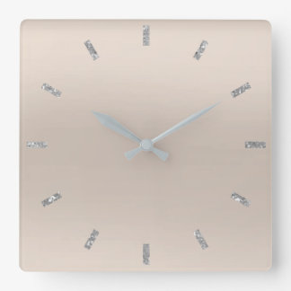 Ivory Gray Silver Pastel Ombre Minimal Glitter Square Wall Clock