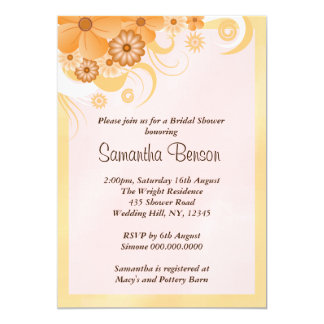 Ivory Hibiscus Floral Wedding Bridal Shower Invite