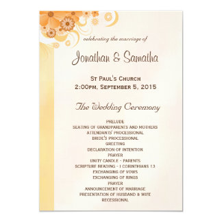 Ivory Hibiscus Floral Wedding Program Templates 13 Cm X 18 Cm Invitation Card