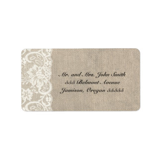 Ivory Lace and Burlap Address Labels