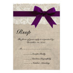 Ivory Lace and Burlap Look Plum RSVP Card Invitation