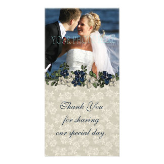 Ivory Lace Blue Flowers Photo Card