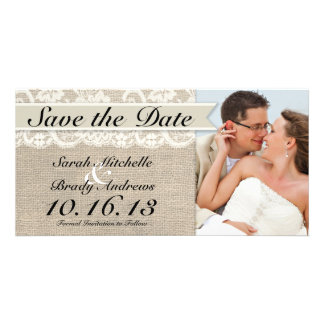 Ivory Lace & Burlap Vintage Save the Date - Ivory Card