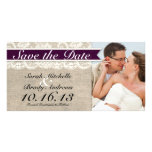 Ivory Lace & Burlap Vintage Save the Date - Plum Photo Cards