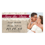 Ivory Lace & Burlap Vintage Save the Date - Red Photo Cards