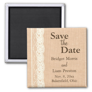 Ivory Lace & Light Burlap Save the Date Square Magnet