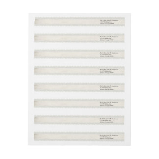 Ivory Lace Look Wedding Address Labels Wraparound Return Address Label