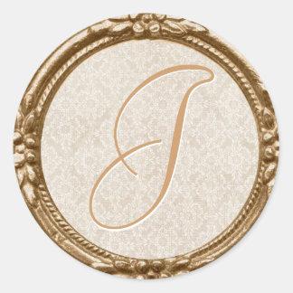 Ivory Lace Monogram Sticker/Seal Classic Round Sticker