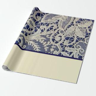 Ivory Lace Navy Blue Elegant Two Tone Wedding