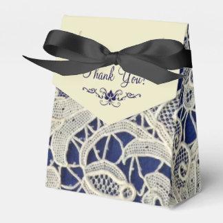 Ivory Lace Navy Blue Elegant Wedding Thank You Favour Box