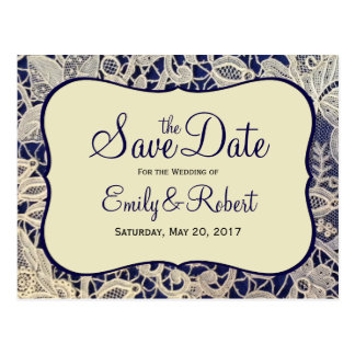 Ivory Lace Navy Blue Formal Wedding Save the Date Postcard