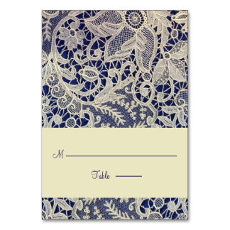 Ivory Lace Navy Blue Modern Wedding Escort Place Card
