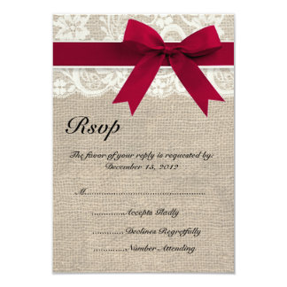Ivory Lace Red Ribbon and Burlap Wedding RSVP Card 9 Cm X 13 Cm Invitation Card