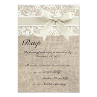 Ivory Lace Ribbon and Burlap Wedding RSVP Card 9 Cm X 13 Cm Invitation Card