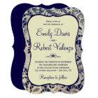 Ivory Lace Royal Navy Blue Modern Formal Wedding Card