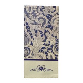Ivory Lace Royal Navy Blue Modern Formal Wedding Napkin