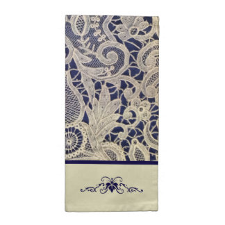Ivory Lace Royal Navy Blue Modern Formal Wedding Printed Napkins