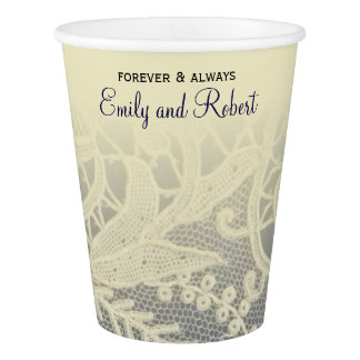 Ivory Lace Royal Navy Blue Reception | Shower Paper Cup