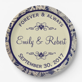Ivory Lace Royal Navy Blue Reception   Shower Paper Plate