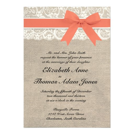 Ivory Lace Rustic Burlap Wedding Invitation- Coral