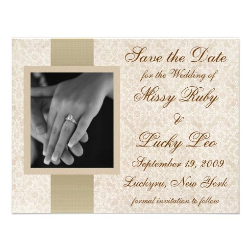 Ivory Lace Save the Date Announcement