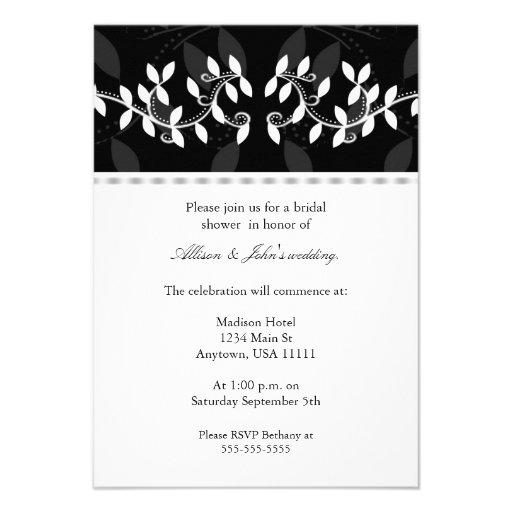 Ivory Leaf Border Bridal Shower Invitation