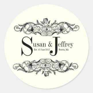 Ivory Monogram Logo Names Date Wedding Label