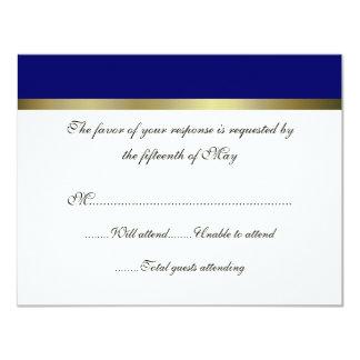 Ivory & Navy All Purpose Wedding Response Card 11 Cm X 14 Cm Invitation Card