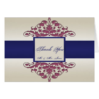 Ivory Navy and Wine Damask Thank You card