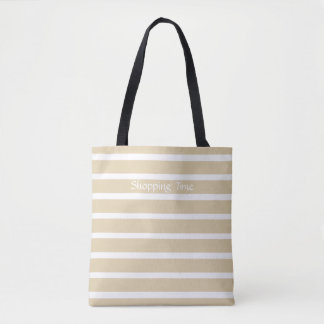 Ivory Neutral Stripes Tote Bag