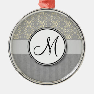 Ivory on Silver Damask and Stripes with Monogram Christmas Tree Ornaments