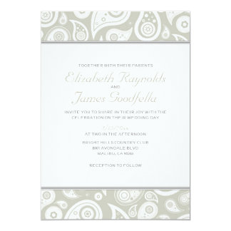 Ivory Paisley Wedding Invitations
