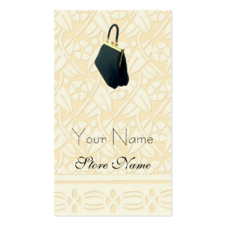 Ivory Patterned with Black Purse Business Cards