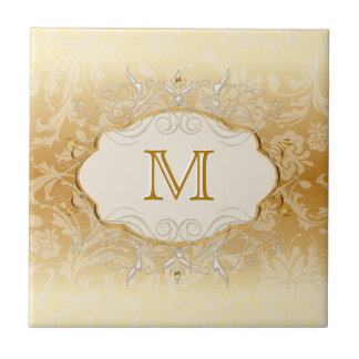 Ivory Pearl and Gold Monogram Small Square Tile