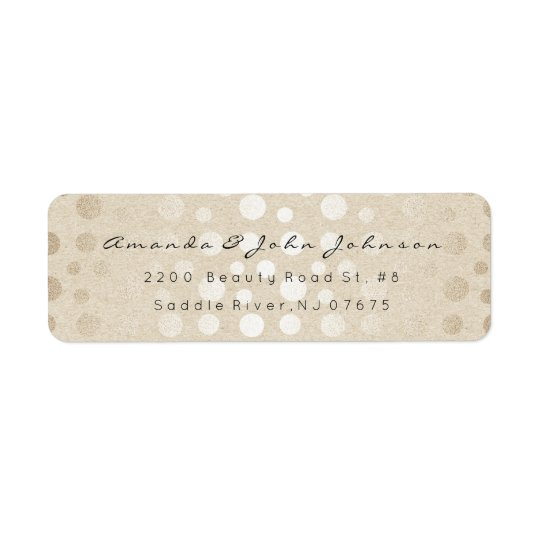 Ivory Pearl Kraft Dots Brush Stroke Minimal Pastel Return Address Label