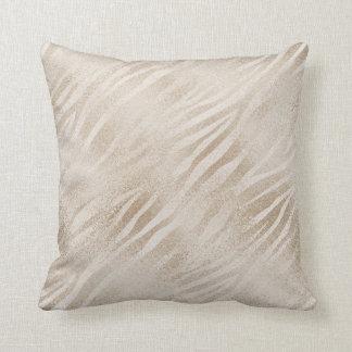 Ivory Pearly Animal Skin Zebra Titanium Pillow