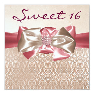 Ivory Pink Damask Sweet 16 Birthday Party 13 Cm X 13 Cm Square Invitation Card