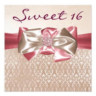 Ivory Pink Damask Sweet 16 Birthday Party Personalized Announcement