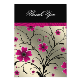 """ivory pink floral thank you 5"""" x 7"""" invitation card"""