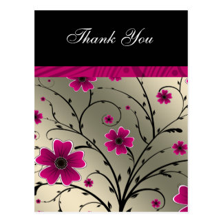 ivory pink floral thank you post cards
