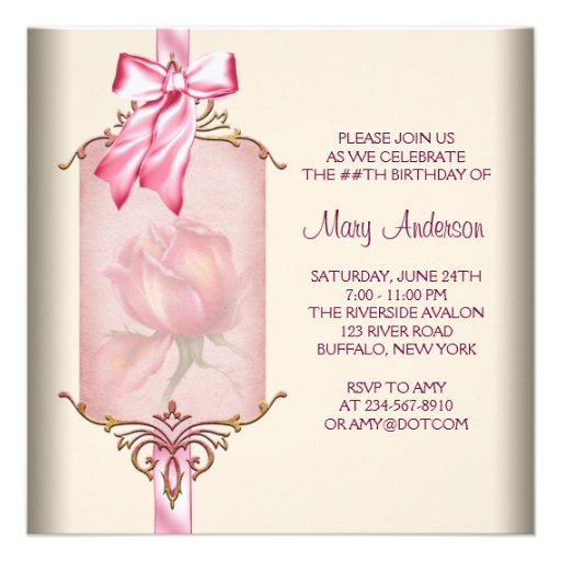 Ivory Pink Rose Womans Birthday Party Invite