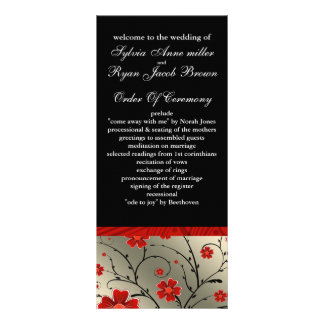 ivory red and black floral Wedding program 10 Cm X 23 Cm Rack Card